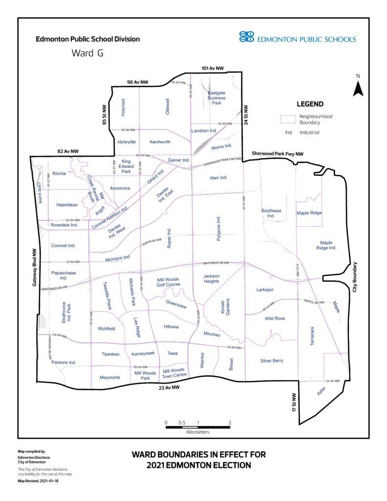 map of neighbourhoods in WARD G